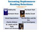 incoming sophomores reading selections choose 1