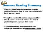 summer reading summary
