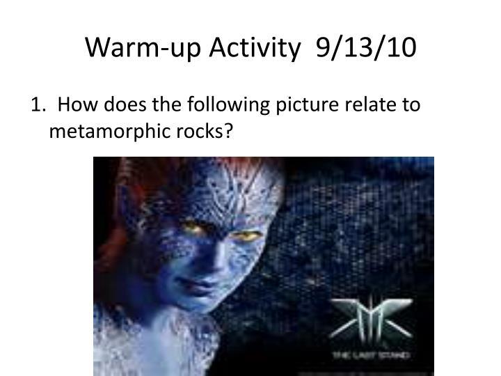 Warm up activity 9 13 10
