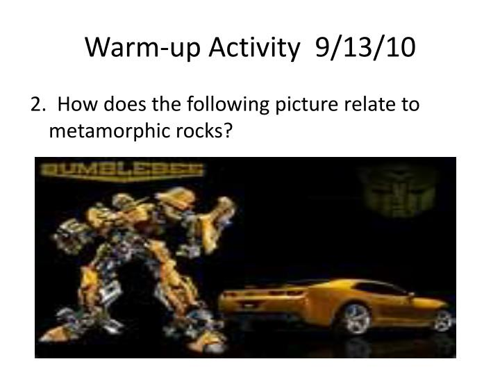 Warm up activity 9 13 101