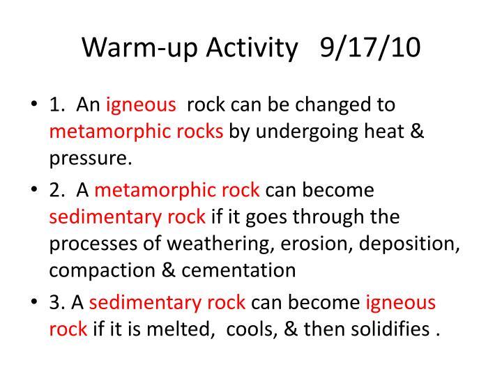 Warm-up Activity   9/17/10