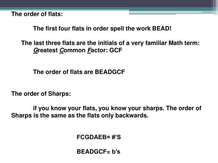 The order of flats: