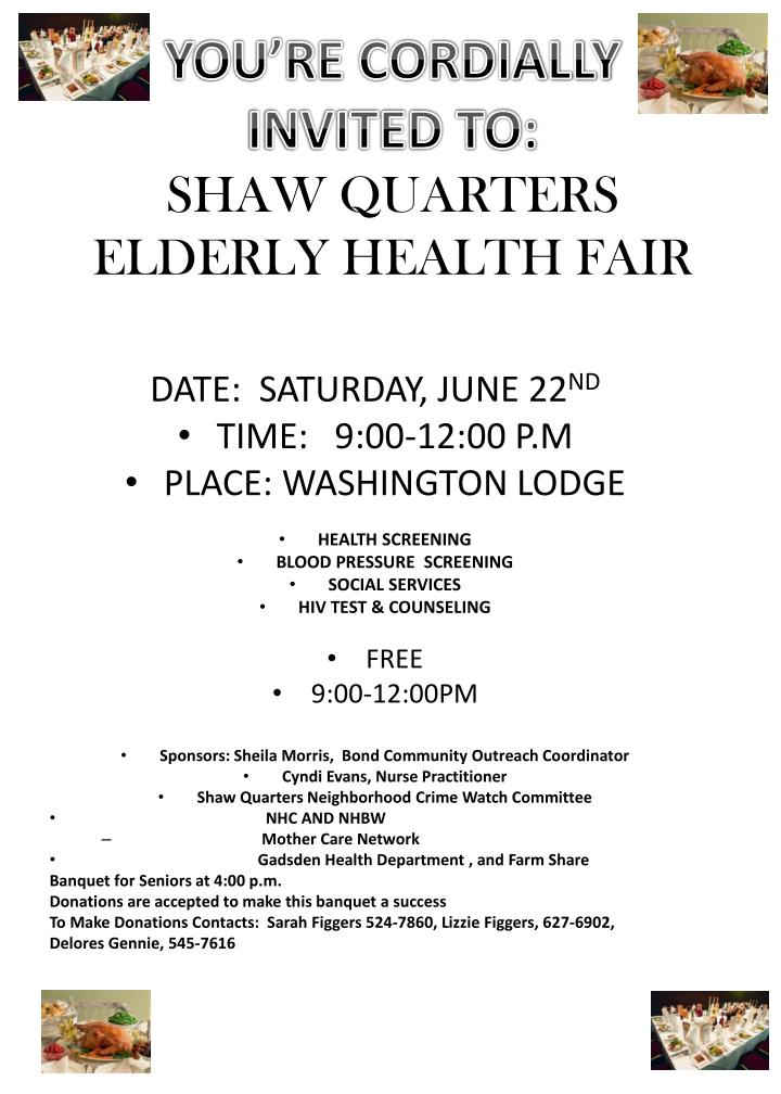 you re cordially invited to shaw quarters elderly health fair n.