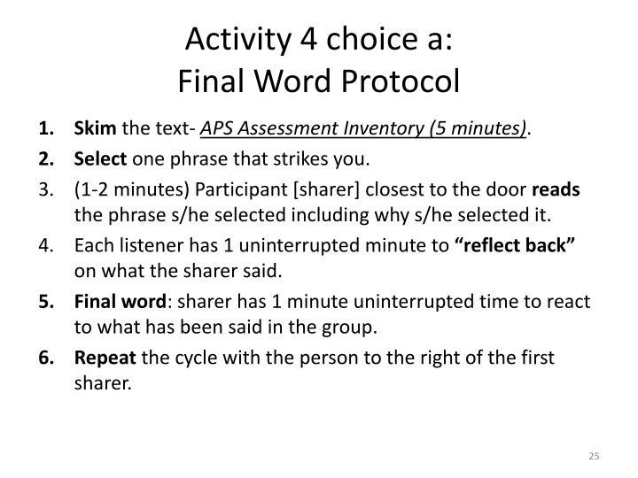 Activity 4 choice a: