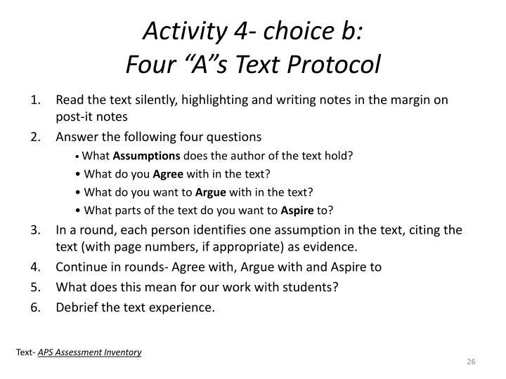 Activity 4- choice b: