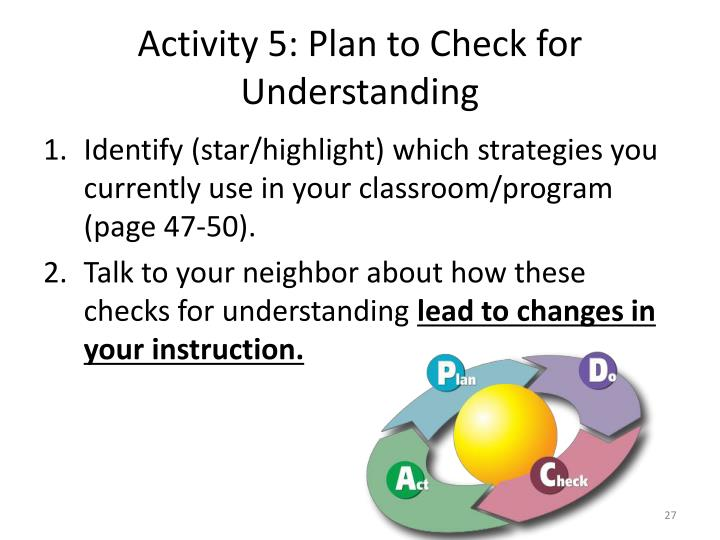 Activity 5: Plan to Check for Understanding