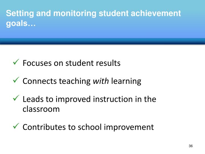 Setting and monitoring student achievement goals…