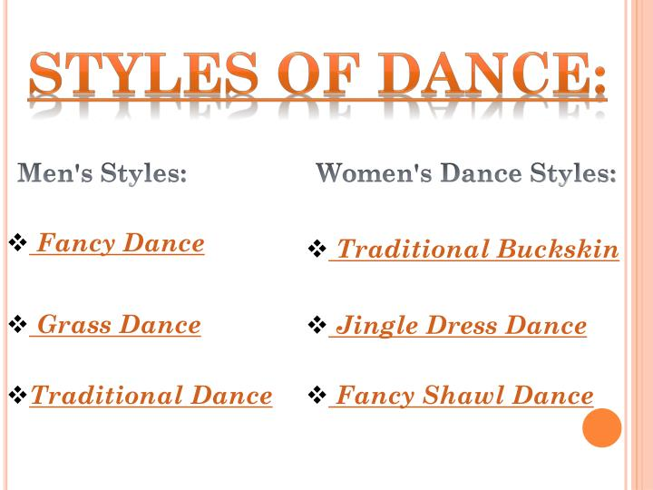 Styles of dance: