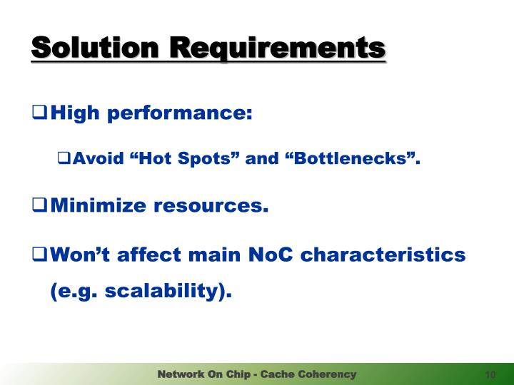 Solution Requirements