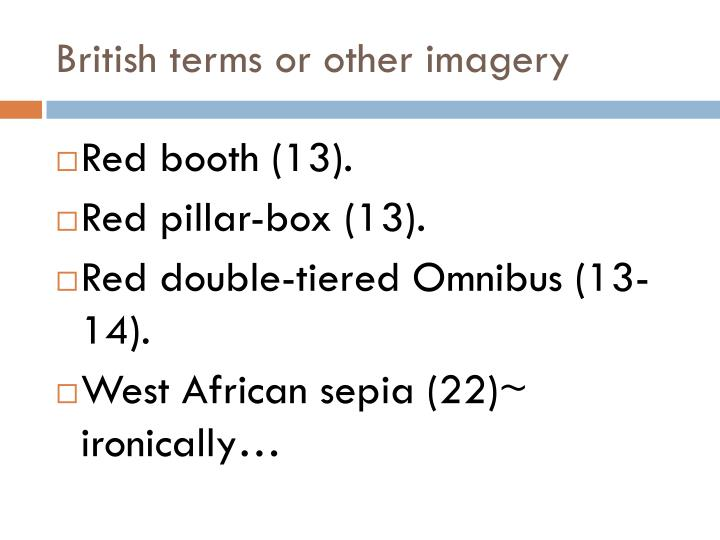 British terms or other imagery