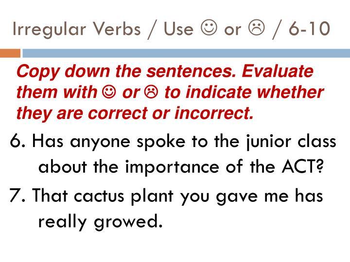 Irregular Verbs / Use