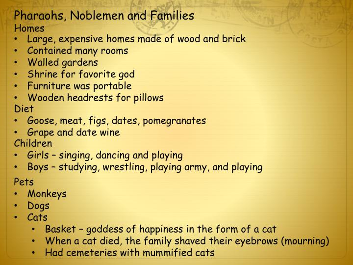 Pharaohs, Noblemen and Families