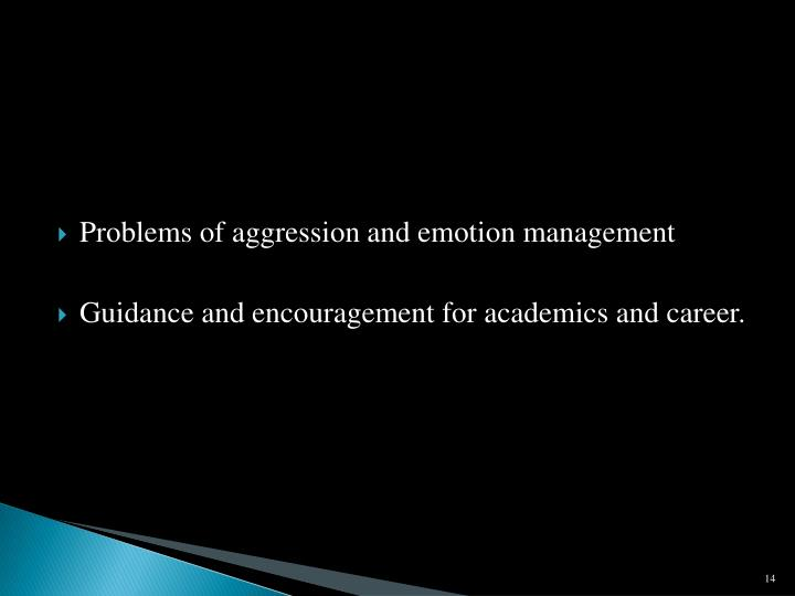Problems of aggression and emotion management