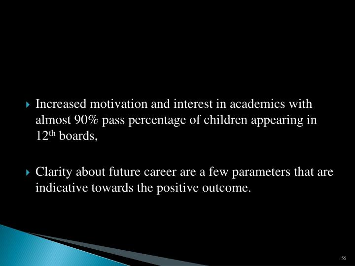 Increased motivation and interest in academics with almost 90% pass percentage of children appearing in 12