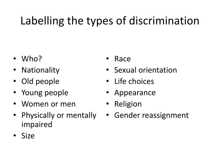 Labelling the types of discrimination