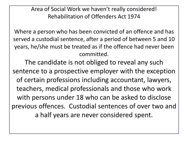 Area of Social Work we haven't really considered!