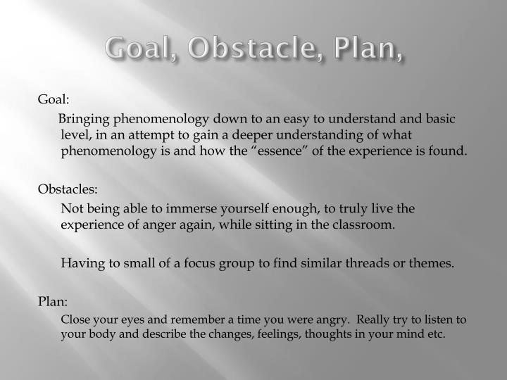 Goal, Obstacle, Plan,