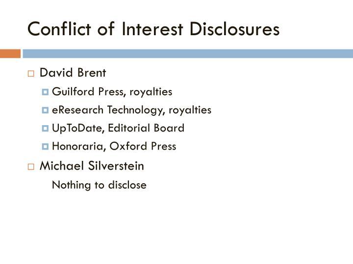 Conflict of interest disclosures