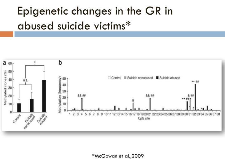 Epigenetic changes in the GR in