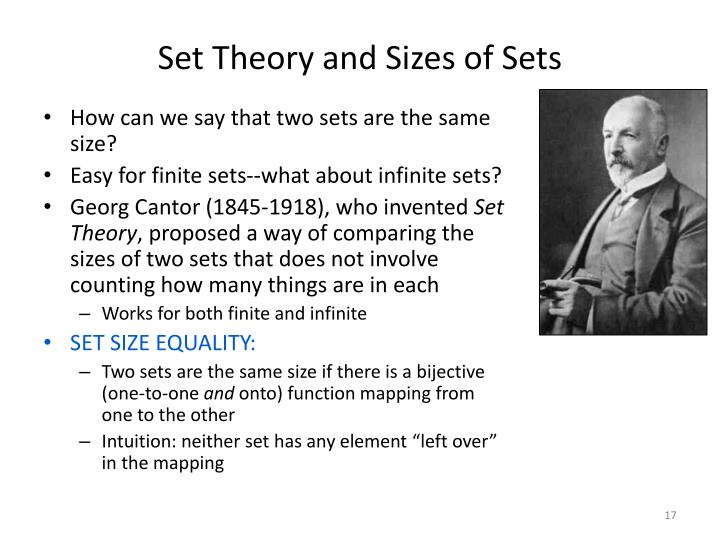 Set Theory and Sizes of Sets
