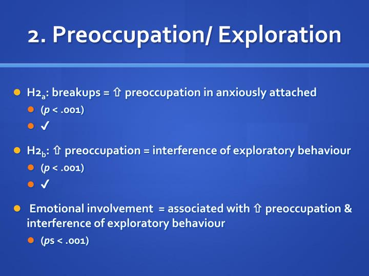 2. Preoccupation/ Exploration