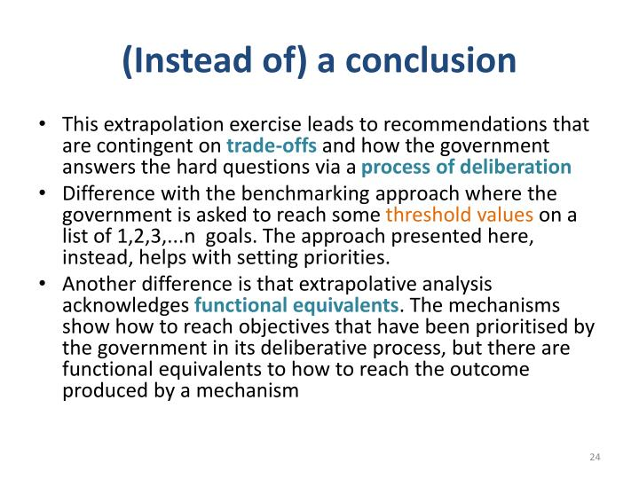(Instead of) a conclusion
