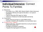 individual intensive connect points to families