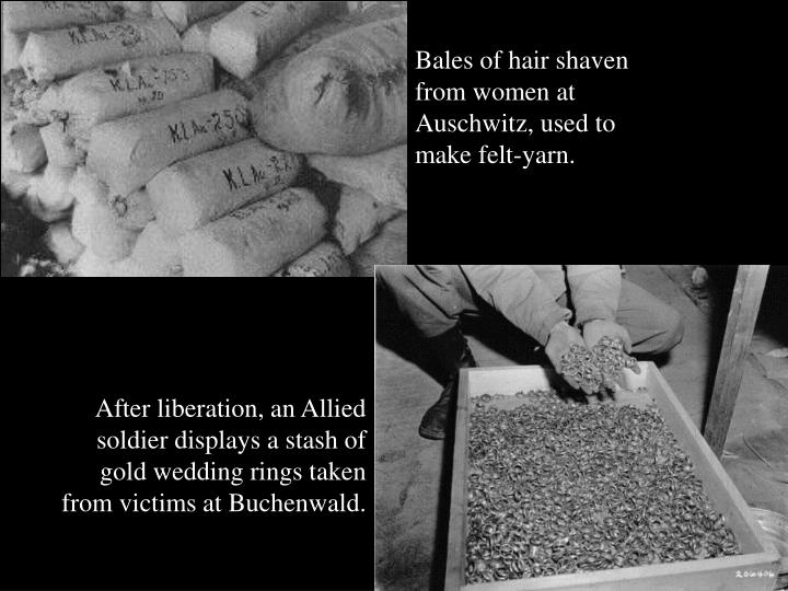 Bales of hair shaven from women at Auschwitz, used to make felt-yarn.