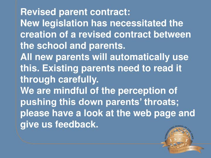 Revised parent contract: