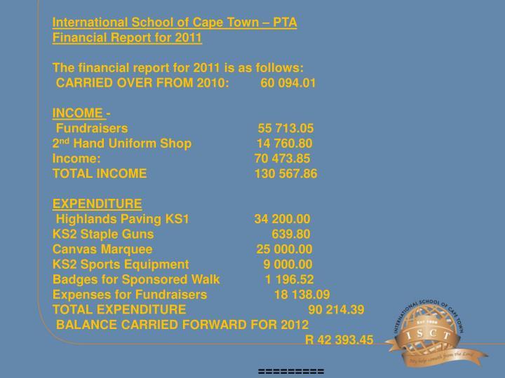 International School of Cape Town – PTA