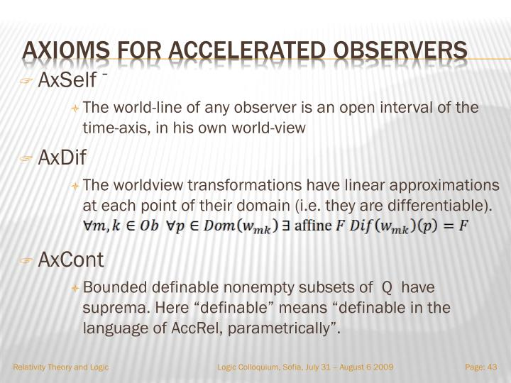 Axioms for accelerated observers