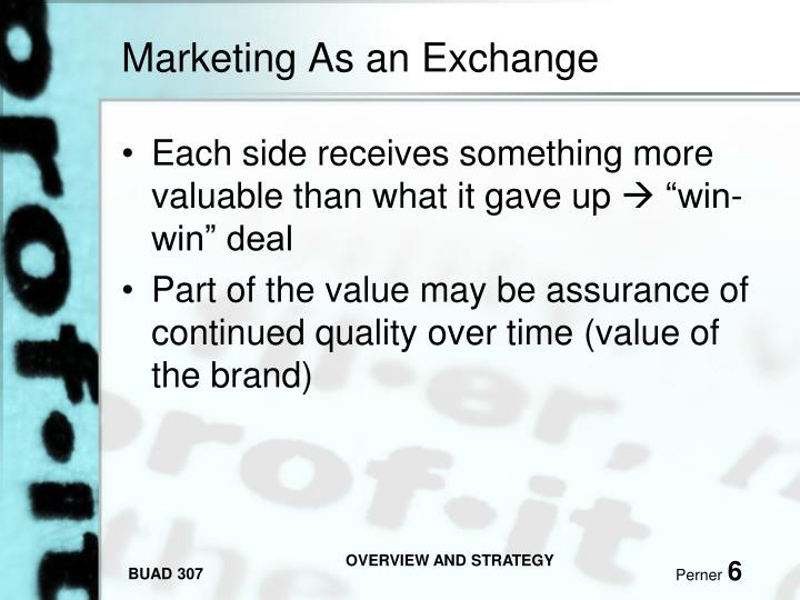 Marketing As an Exchange