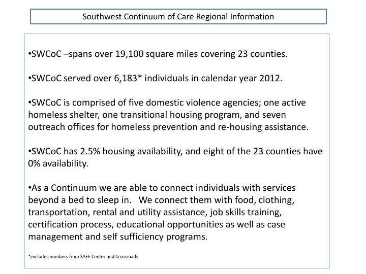 Southwest Continuum of Care Regional Information