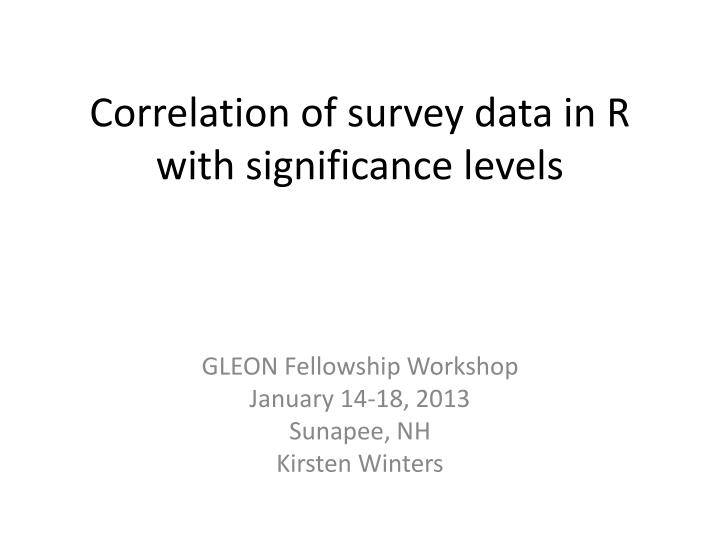 correlation of survey data in r with significance levels n.