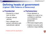 defining heads of government lijphart 1999 patterns of democracy