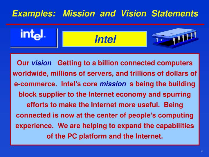 Examples:   Mission  and  Vision  Statements