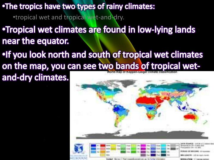 The tropics have two types of rainy climates: