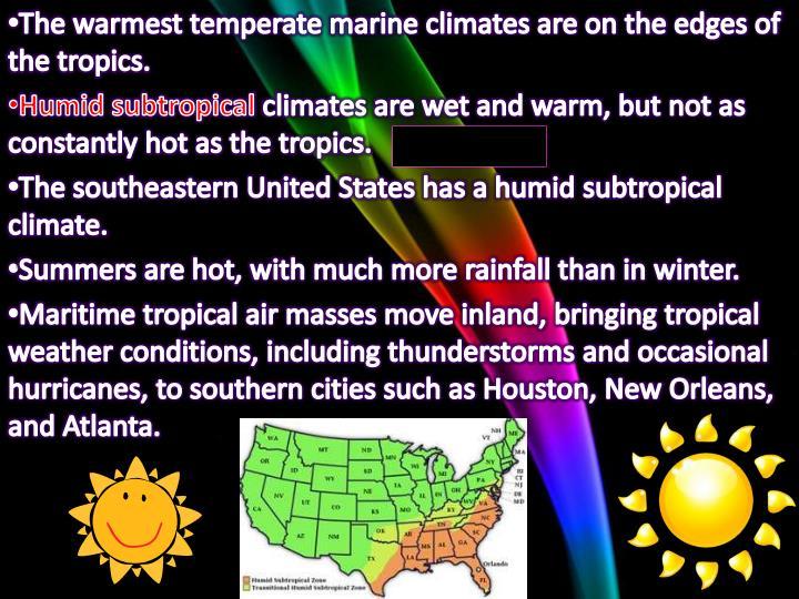 The warmest temperate marine climates are on the edges of the tropics.