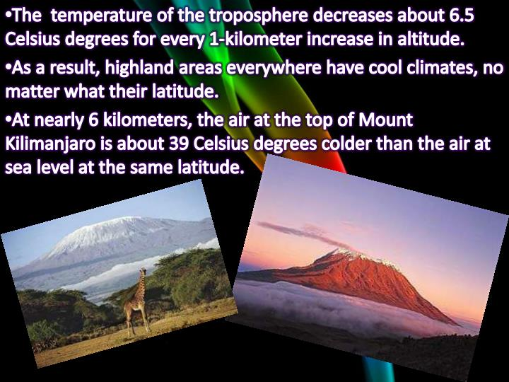 The  temperature of the troposphere decreases about 6.5 Celsius degrees for every 1-kilometer increase in altitude.