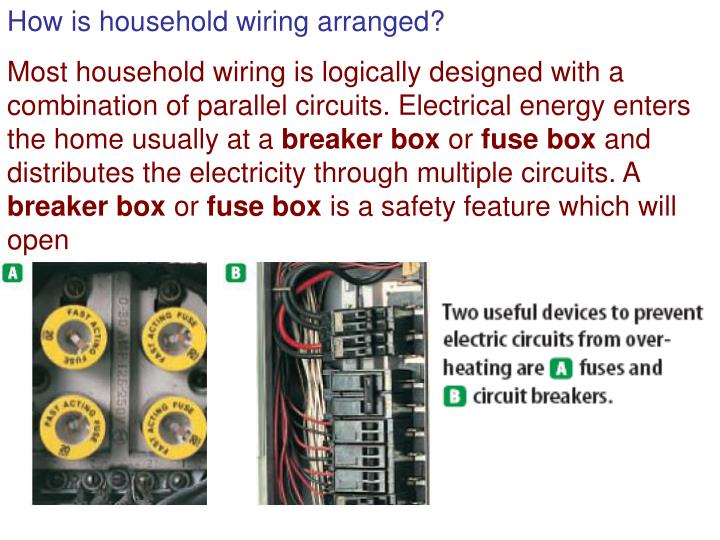 How is household wiring arranged?