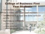 college of business first year students