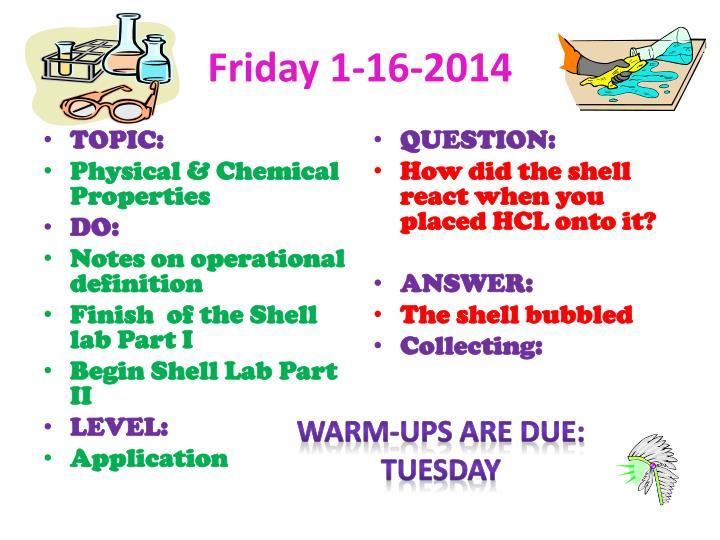 Friday 1-16-2014
