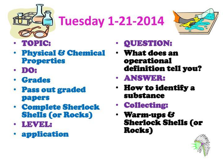 Tuesday 1-21-2014