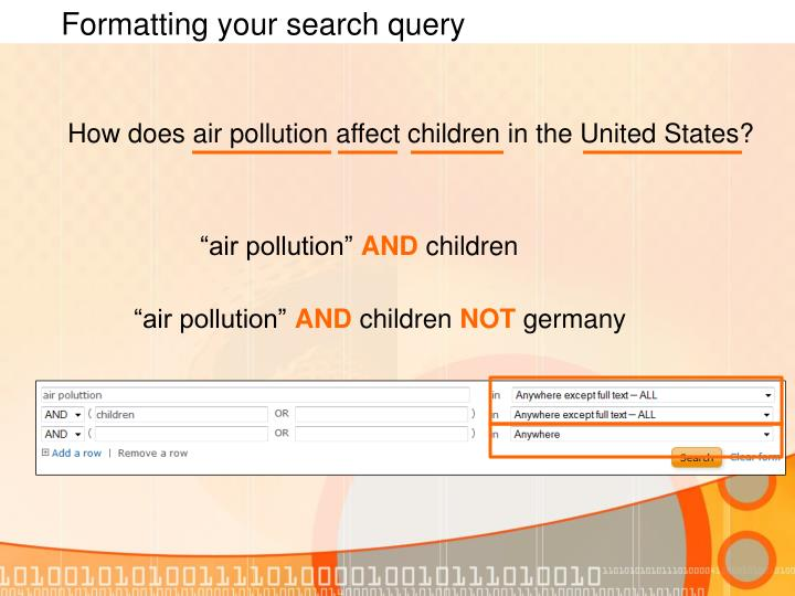 Formatting your search query