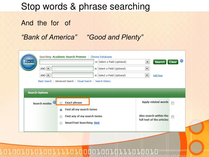 Stop words & phrase searching
