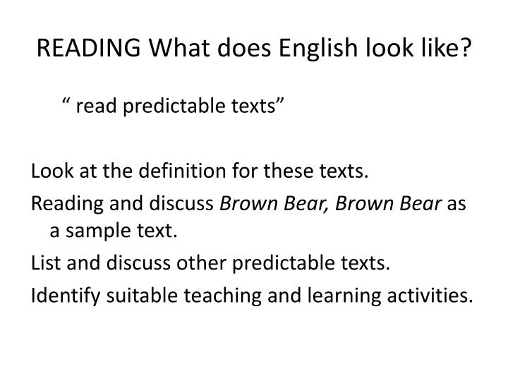 Reading what does english look like