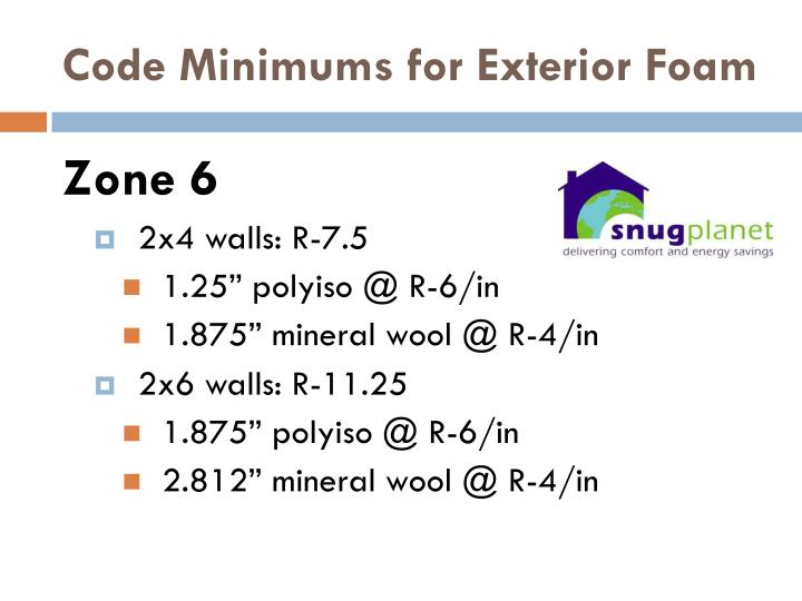Code minimums for exterior foam