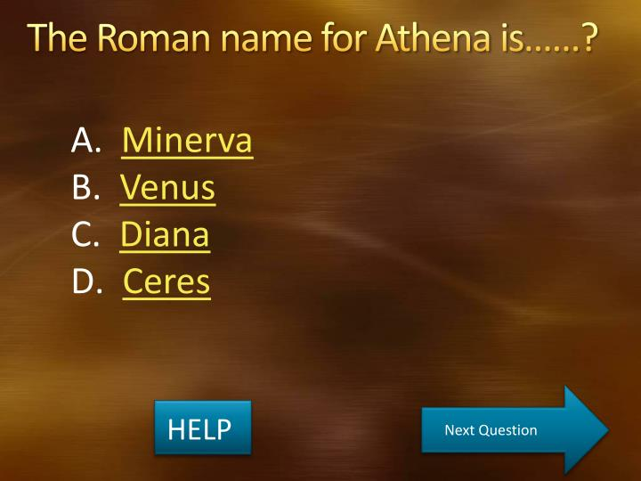 The Roman name for Athena is……?