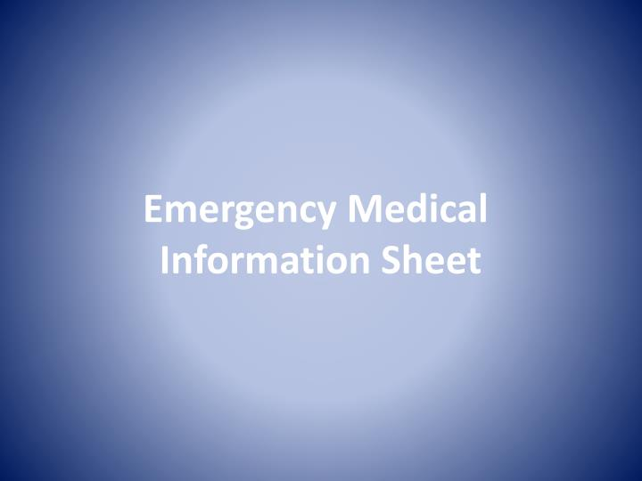 Emergency medical information sheet