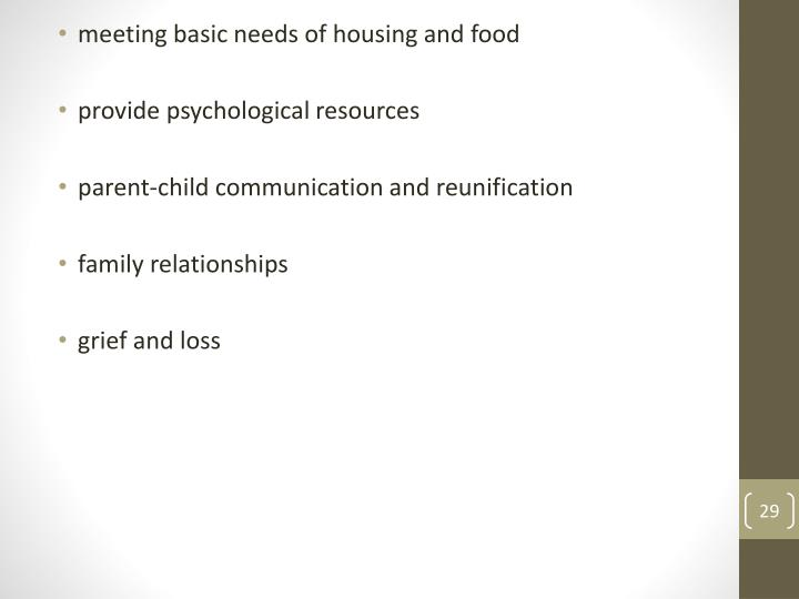 meeting basic needs of housing and